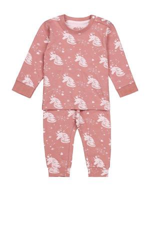 pyjama met all over print roze/lichtroze
