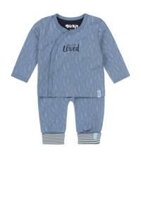 Dirkje newborn baby shirt + broek van biologisch katoen blauw/wit, Blauw/wit