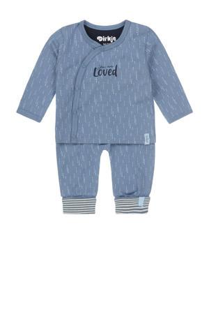 newborn baby shirt + broek van biologisch katoen blauw/wit