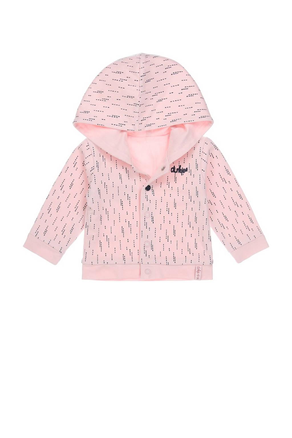 Dirkje baby reversible vest met biologisch katoen lichtroze/donkerblauw, Lichtroze/donkerblauw