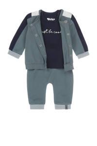 Dirkje 3-delige newborn baby set grijsgroen/donkerblauw, Grijsgroen/donkerblauw