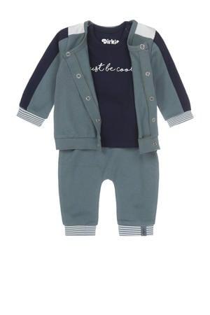 3-delige newborn baby set grijsgroen/donkerblauw