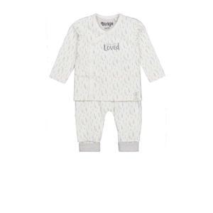 newborn baby shirt + broek van biologisch katoen wit/grijs