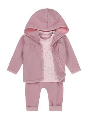 newborn baby vest + longsleeve + broek - set van 3 roze/lichtroze