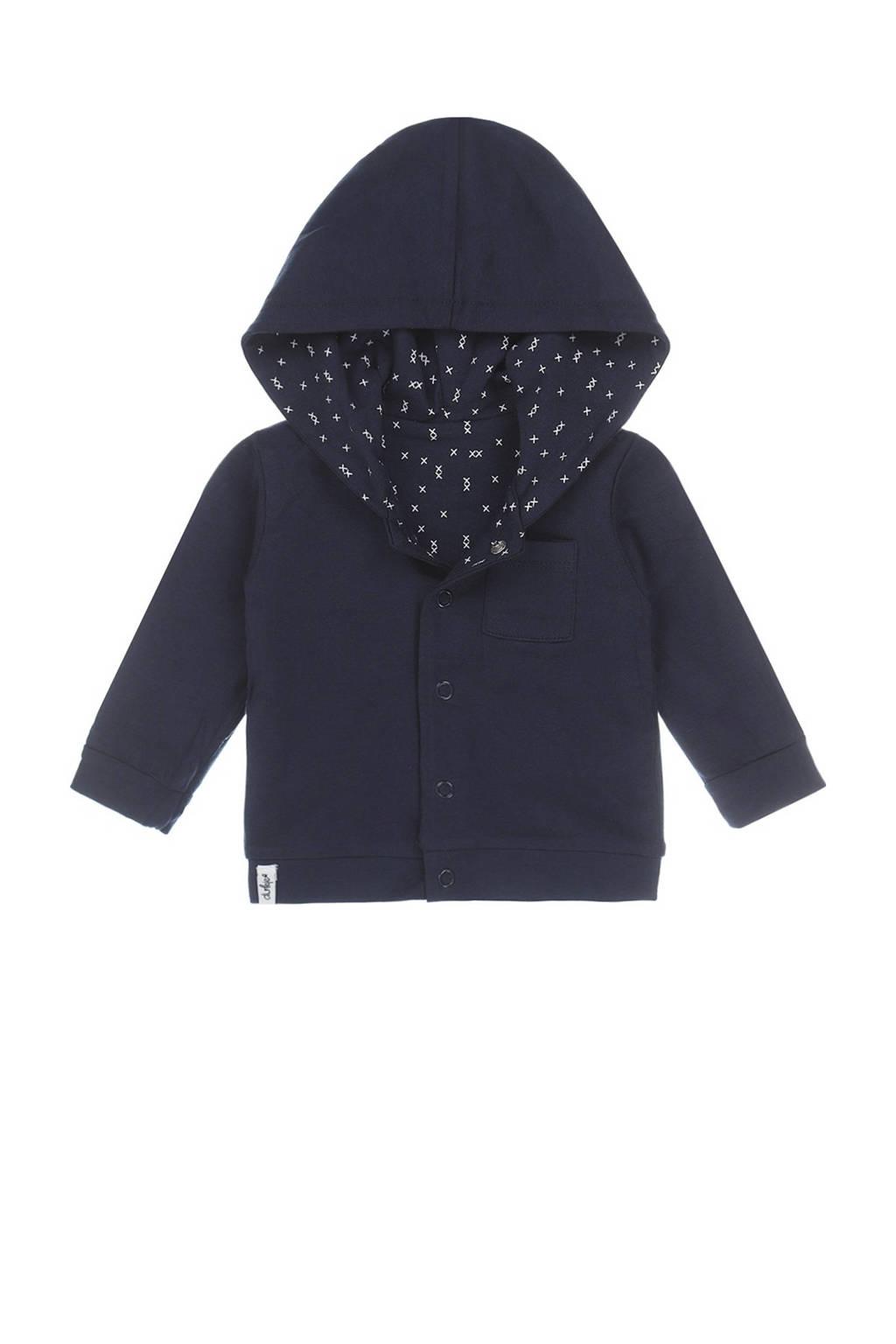 Dirkje baby vest met biologisch katoen donkerblauw/wit, Donkerblauw/wit