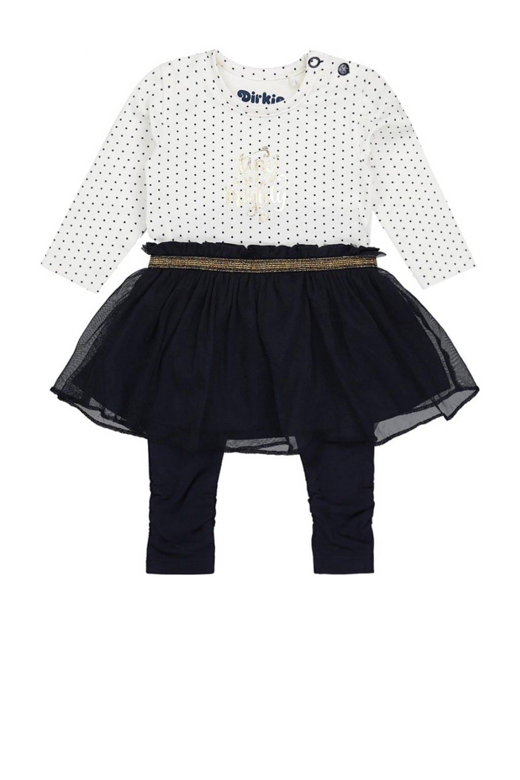 Dirkje baby jurk + legging met biologisch katoen donkerblauw/wit, Donkerblauw/wit
