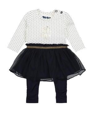 jurk + legging van biologisch katoen wit/zwart