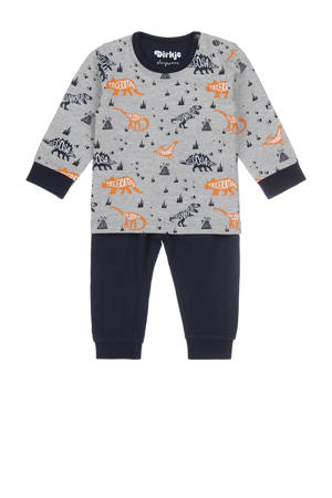 pyjama donkerblauw/grijs melange/oranje