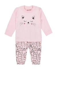 Dirkje pyjama met printopdruk roze/zwart, Lichtroze