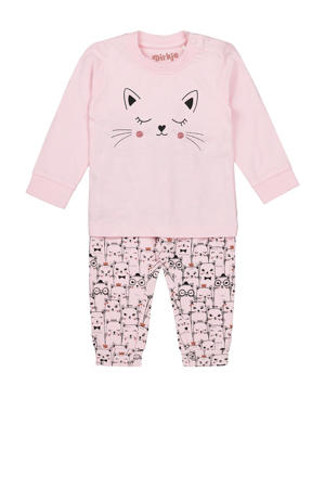 pyjama met printopdruk roze/zwart