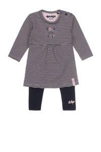 Dirkje gestreepte baby jurk + legging met biologisch katoen donkerblauw/roze, Donkerblauw/roze