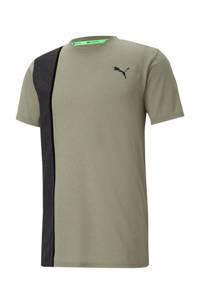 Puma   sport T-shirt kaki/zwart, Kaki/zwart