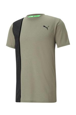 sport T-shirt kaki/zwart