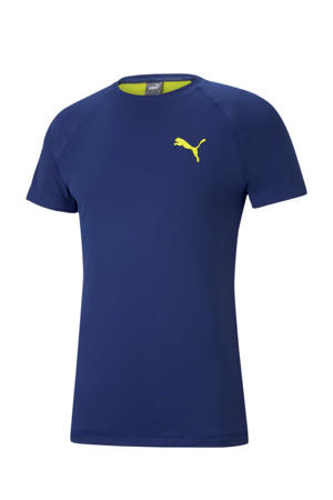 sport T-shirt blauw/geel