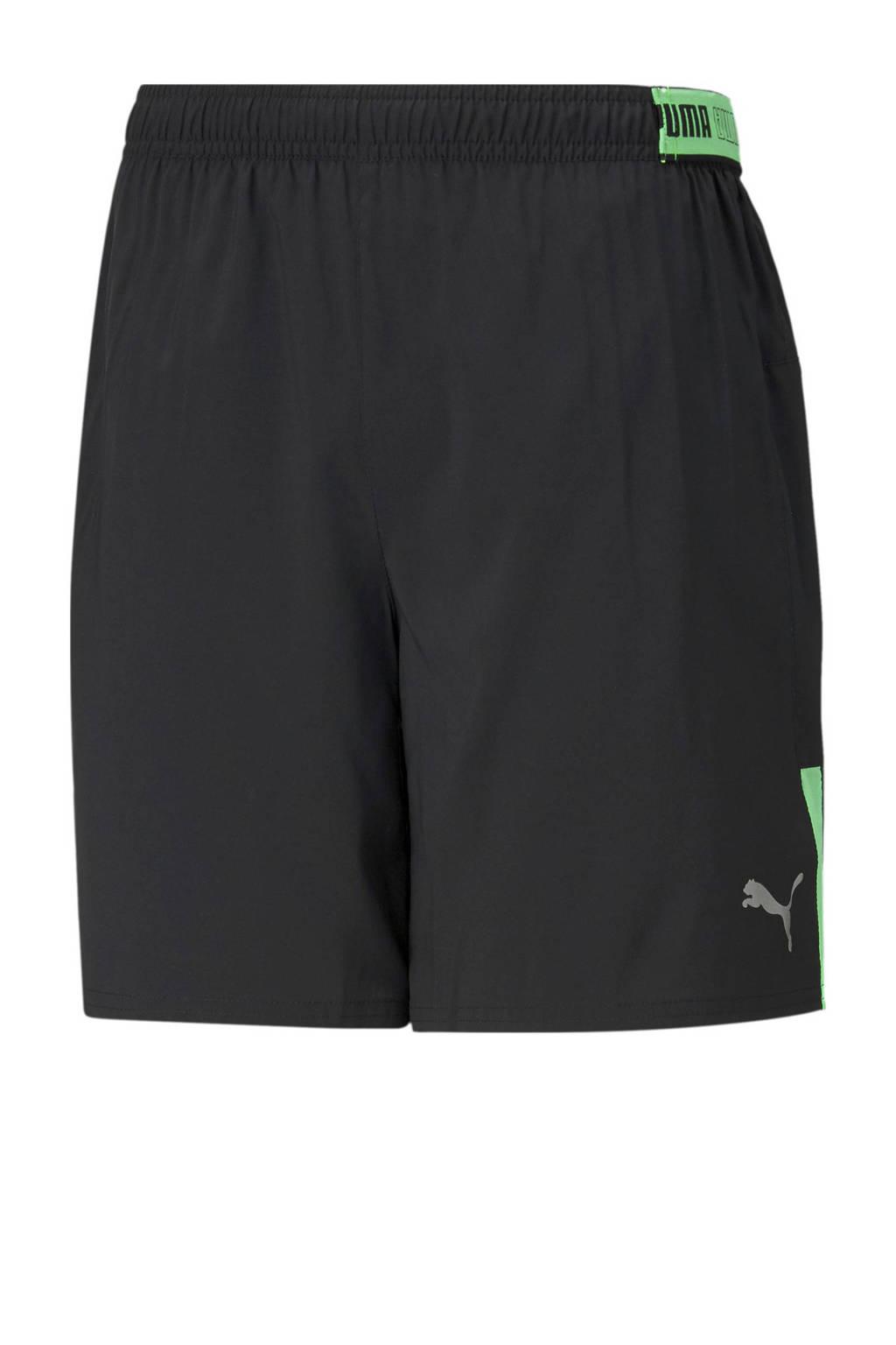 Puma   hardloopshort zwart/groen, Zwart/groen