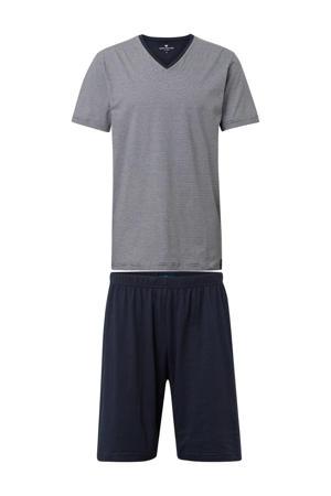 shortama met strepen donkerblauw