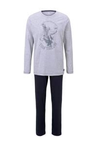Tom Tailor pyjama met printopdruk grijs/donkerblauw, Grijs/donkerblauw