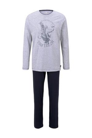 pyjama met printopdruk grijs/donkerblauw