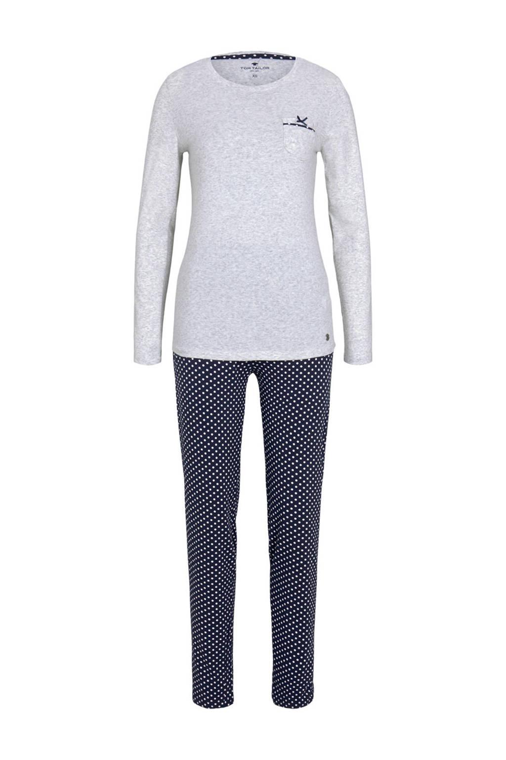 Tom Tailor pyjama met stippen grijs/donkerblauw, Grijs/donkerblauw