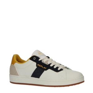 Classic Cap  leren sneakers wit/blauw/geel