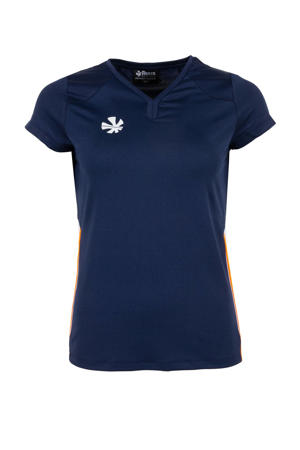 sport T-shirt donkerblauw/oranje/wit