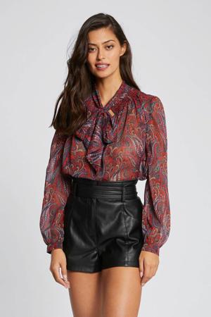 blouse met all over print en glitters rood