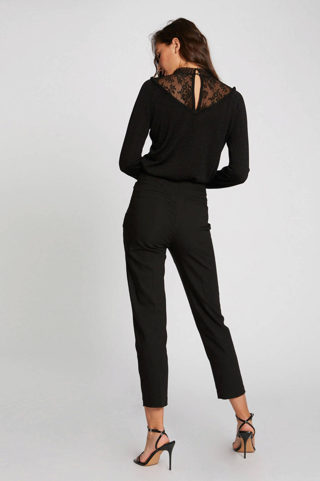 Morgan semi-transparante trui met kant zwart, Zwart