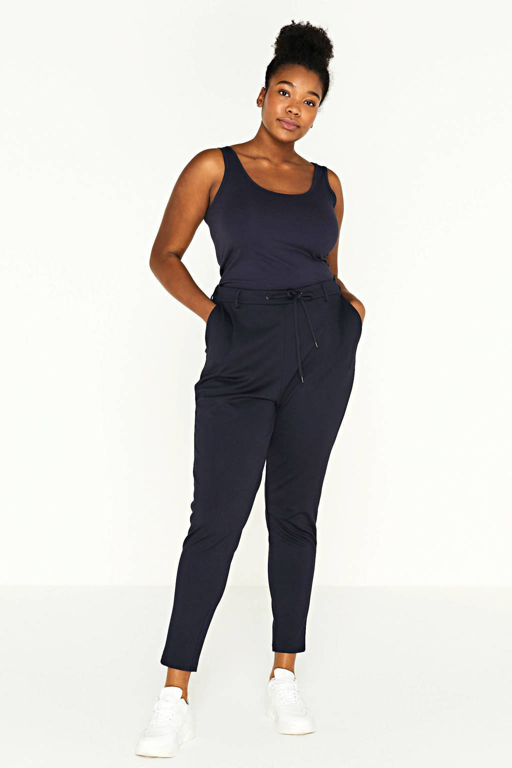 Zizzi slim fit joggingbroek donkerblauw, Donkerblauw