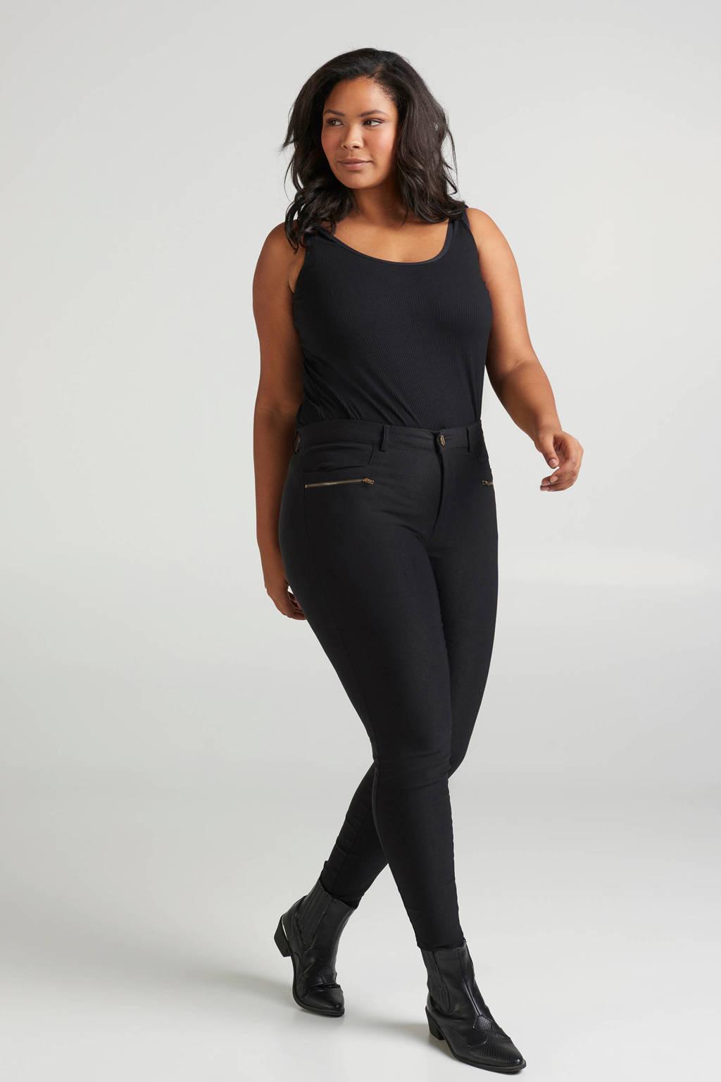 Zizzi skinny tregging zwart, Zwart