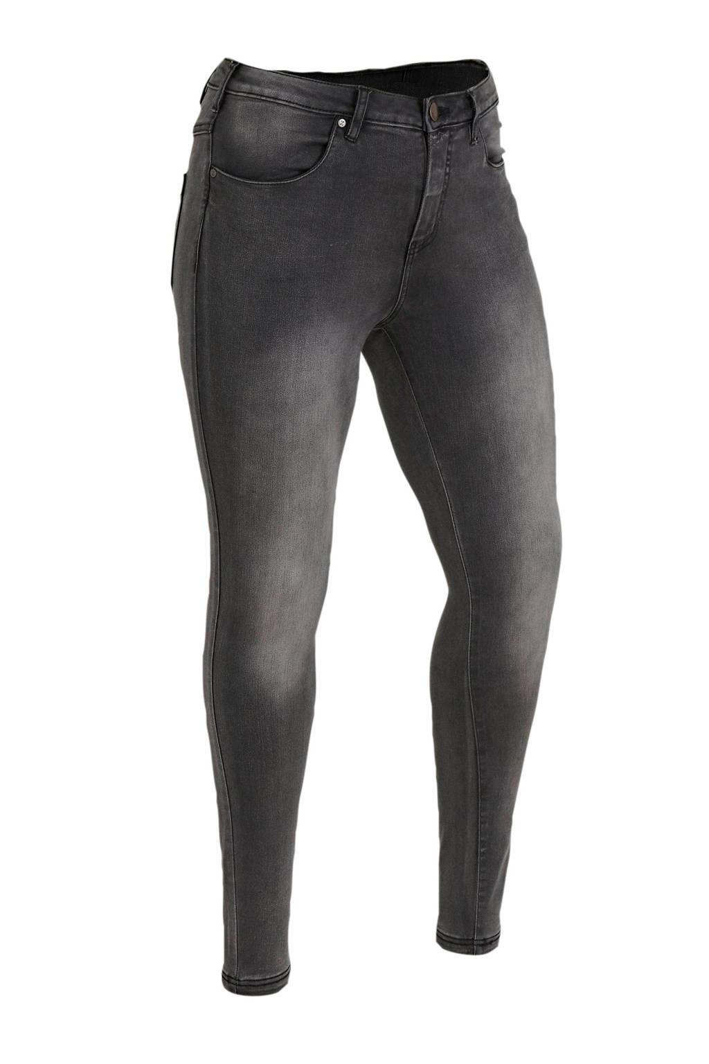 Zizzi high waist skinny jeans grijs lengtemaat 34, Antraciet stonewashed