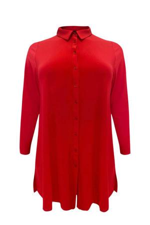 blouse met plooien rood