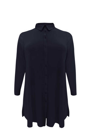 blouse met plooien donkerblauw