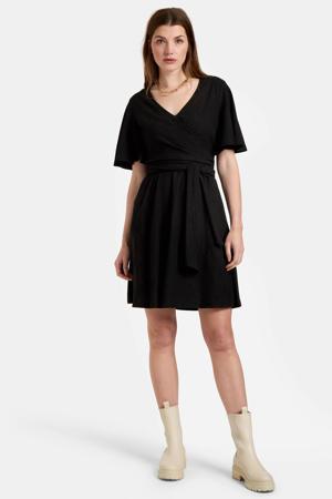 jurk Crinkle Short Dress zwart