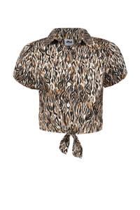 Jill & Mitch by Shoeby blouse Fallon met all over print bruin/beige/zwart, Bruin/beige/zwart