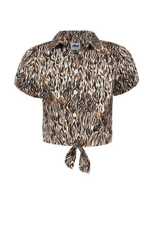 blouse Fallon met all over print bruin/beige/zwart