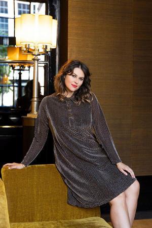 semi-transparante jurk met all over print en glitters zwart/brons