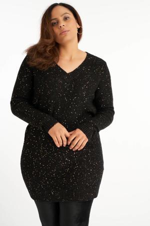 trui met pailletten zwart