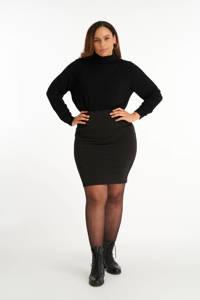 MS Mode rok met glitters zwart/zilver, Zwart/zilver