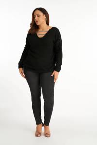 MS Mode fijngebreide trui met glitters zwart/zilver, Zwart/zilver