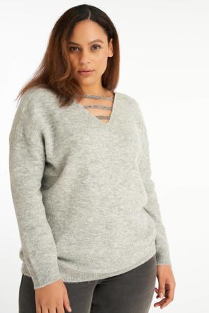 fijngebreide trui met glitters grijs melange/zilver