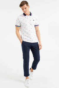 WE Fashion slim fit polo met all over print wit, White Uni
