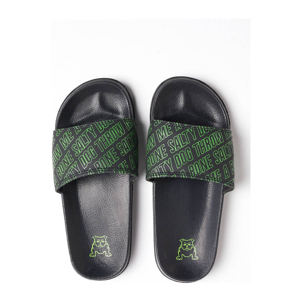 WE Fashion Salty Dog   badslippers zwart/groen, Zwart/groen