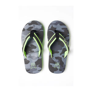 teenslippers met camouflageprint grijs/groen