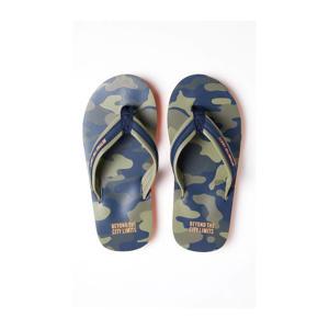 teenslippers met camouflageprint kaki/blauw