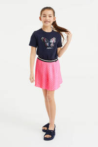 WE Fashion T-shirt met printopdruk en pailletten donkerblauw, Donkerblauw