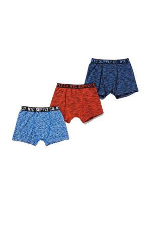 boxershort - set van 3 rood/blauw/donkerblauw
