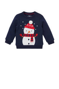 C&A Baby Club kerstsweater donkerblauw/wit/rood, Donkerblauw/rood/wit