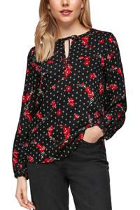 s.Oliver top met all over print en open detail zwart/wit/rood, Zwart/wit/rood