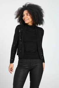 Cassis vest met pailletten zwart, Zwart