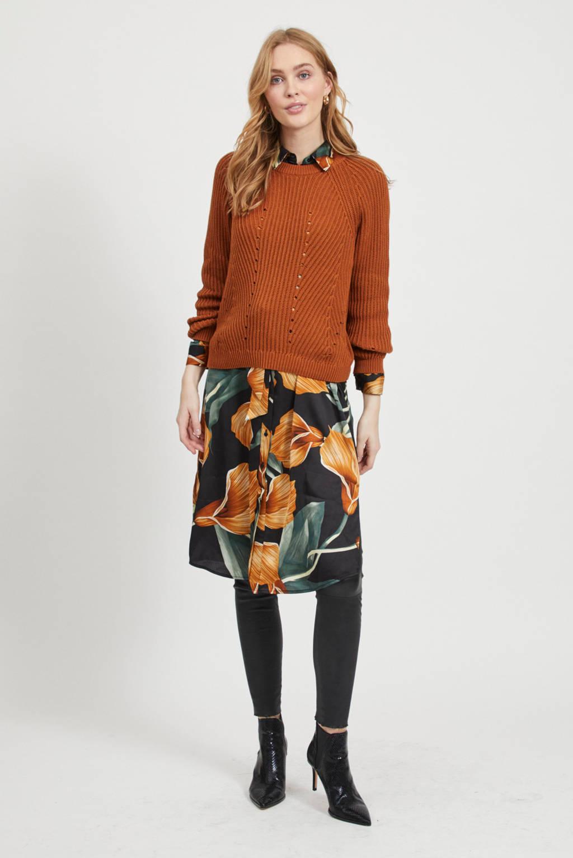 OBJECT trui van biologisch katoen oranje, Oranje